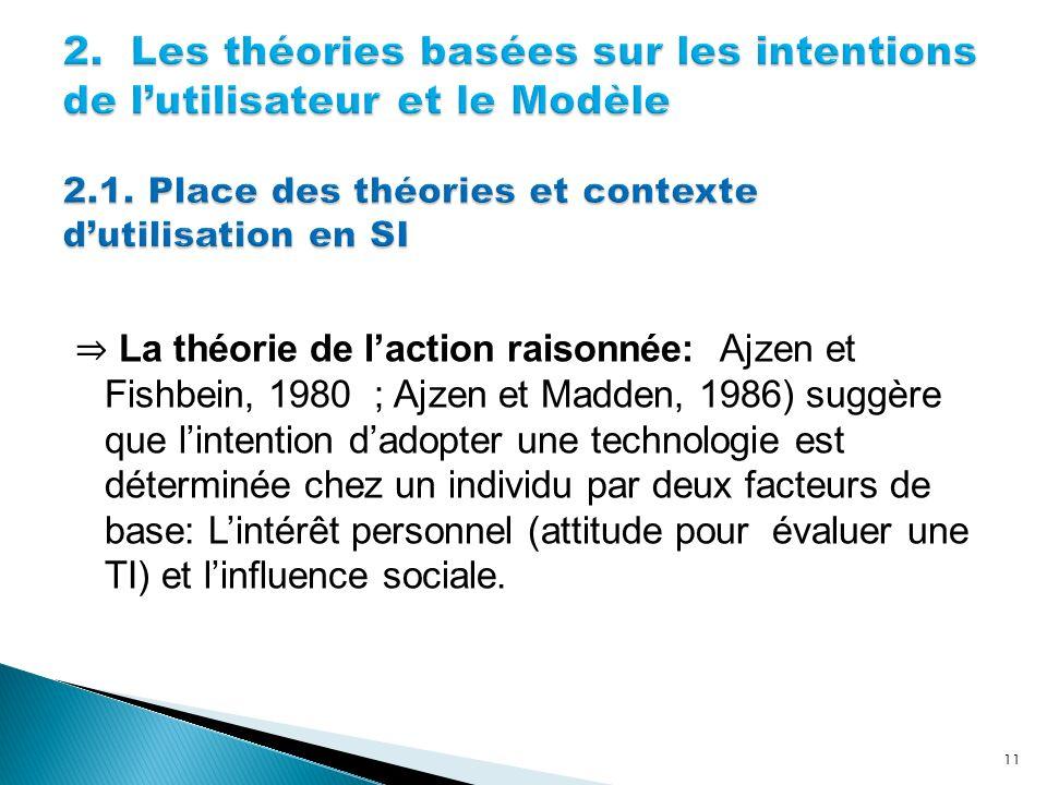 La théorie de laction raisonnée: Ajzen et Fishbein, 1980 ; Ajzen et Madden, 1986) suggère que lintention dadopter une technologie est déterminée chez