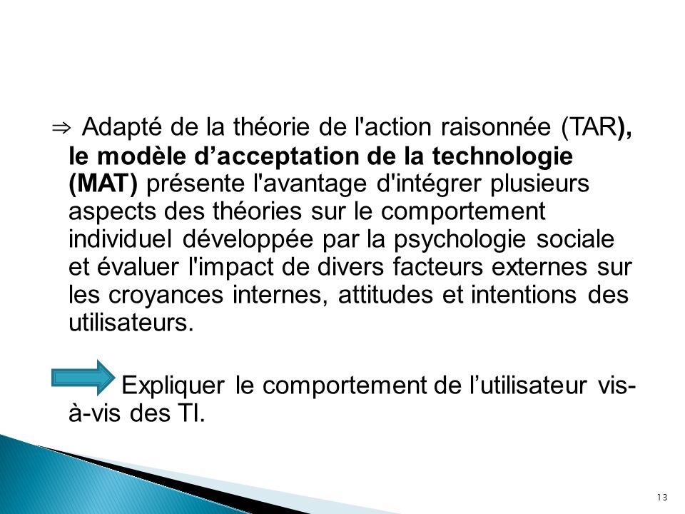Adapté de la théorie de l'action raisonnée (TAR), le modèle dacceptation de la technologie (MAT) présente l'avantage d'intégrer plusieurs aspects des