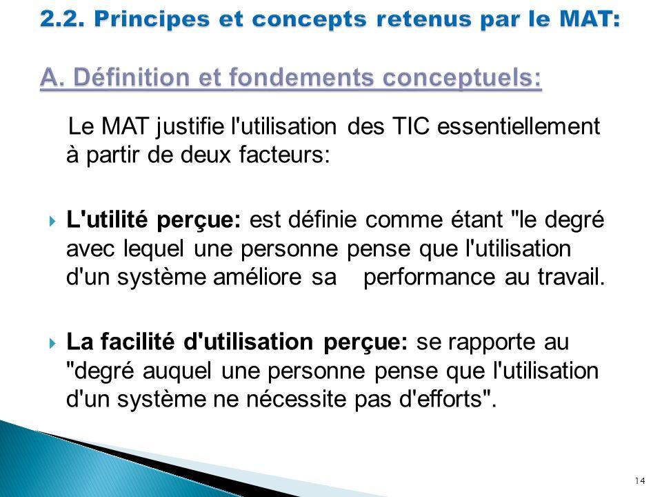 Le MAT justifie l'utilisation des TIC essentiellement à partir de deux facteurs: L'utilité perçue: est définie comme étant