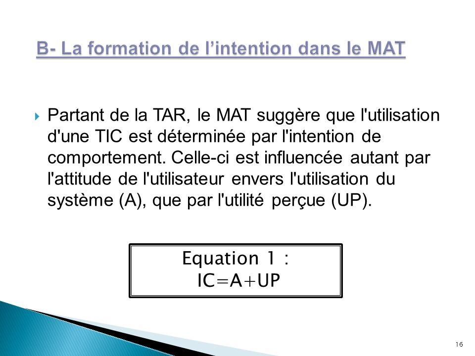 Partant de la TAR, le MAT suggère que l'utilisation d'une TIC est déterminée par l'intention de comportement. Celle-ci est influencée autant par l'att