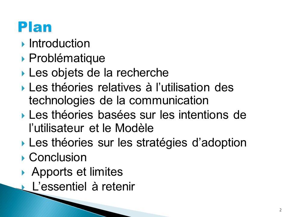 Introduction Problématique Les objets de la recherche Les théories relatives à lutilisation des technologies de la communication Les théories basées s