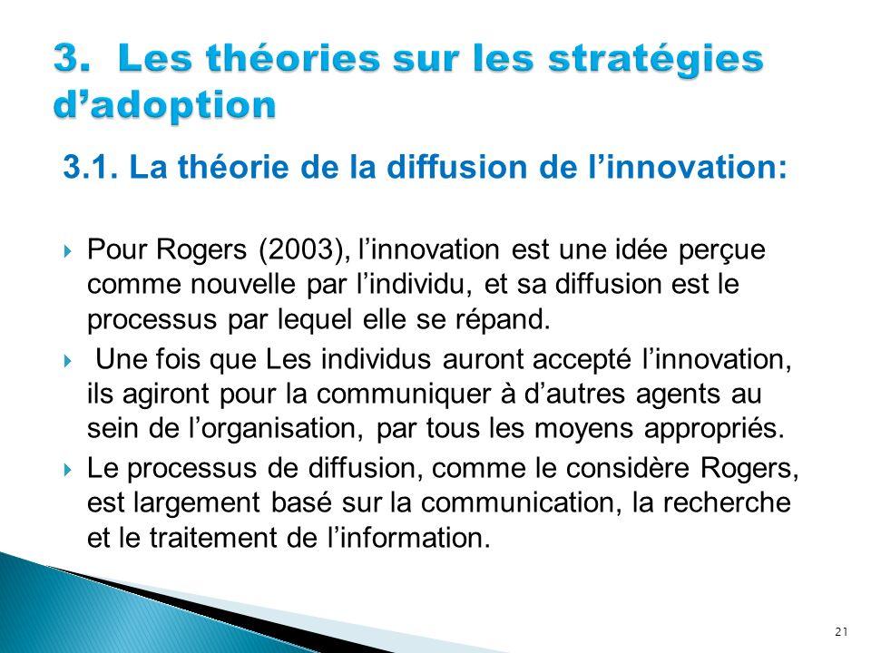3.1. La théorie de la diffusion de linnovation: Pour Rogers (2003), linnovation est une idée perçue comme nouvelle par lindividu, et sa diffusion est