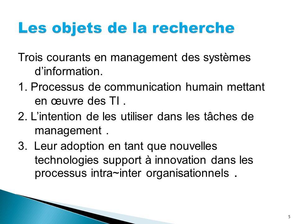 Trois courants en management des systèmes dinformation. 1. Processus de communication humain mettant en œuvre des TI. 2. Lintention de les utiliser da