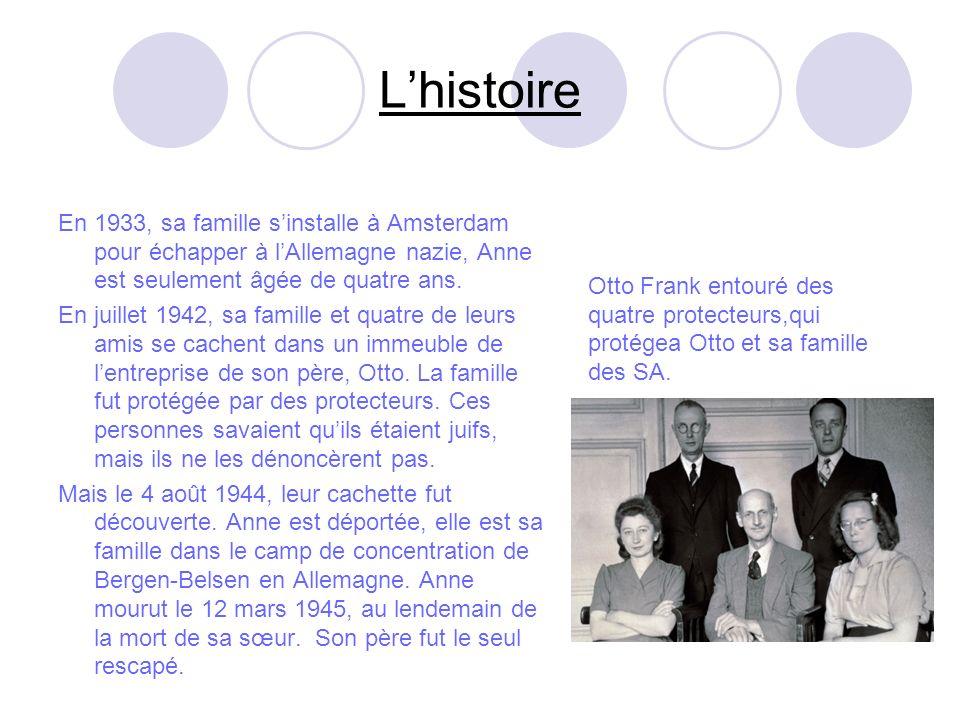 Lhistoire En 1933, sa famille sinstalle à Amsterdam pour échapper à lAllemagne nazie, Anne est seulement âgée de quatre ans.