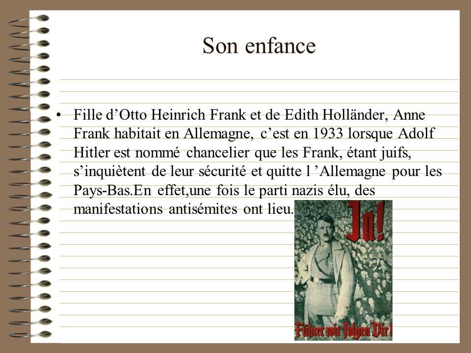 Son enfance Fille dOtto Heinrich Frank et de Edith Holländer, Anne Frank habitait en Allemagne, cest en 1933 lorsque Adolf Hitler est nommé chancelier
