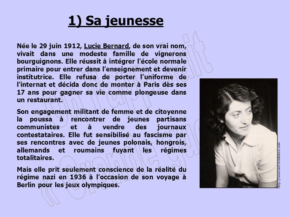 1) Sa jeunesse Née le 29 juin 1912, Lucie Bernard, de son vrai nom, vivait dans une modeste famille de vignerons bourguignons.