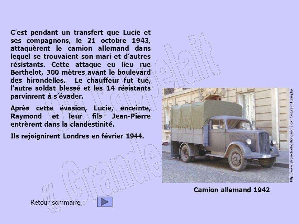 Cest pendant un transfert que Lucie et ses compagnons, le 21 octobre 1943, attaquèrent le camion allemand dans lequel se trouvaient son mari et dautre