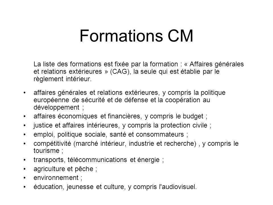 Formations CM La liste des formations est fixée par la formation : « Affaires générales et relations extérieures » (CAG), la seule qui est établie par