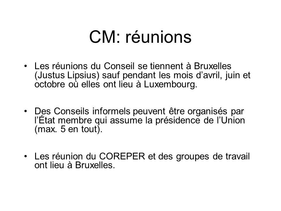 CM: réunions Les réunions du Conseil se tiennent à Bruxelles (Justus Lipsius) sauf pendant les mois davril, juin et octobre où elles ont lieu à Luxemb