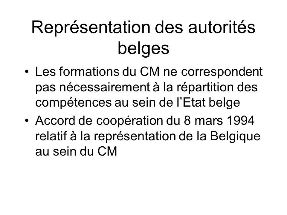 Représentation des autorités belges Les formations du CM ne correspondent pas nécessairement à la répartition des compétences au sein de lEtat belge A