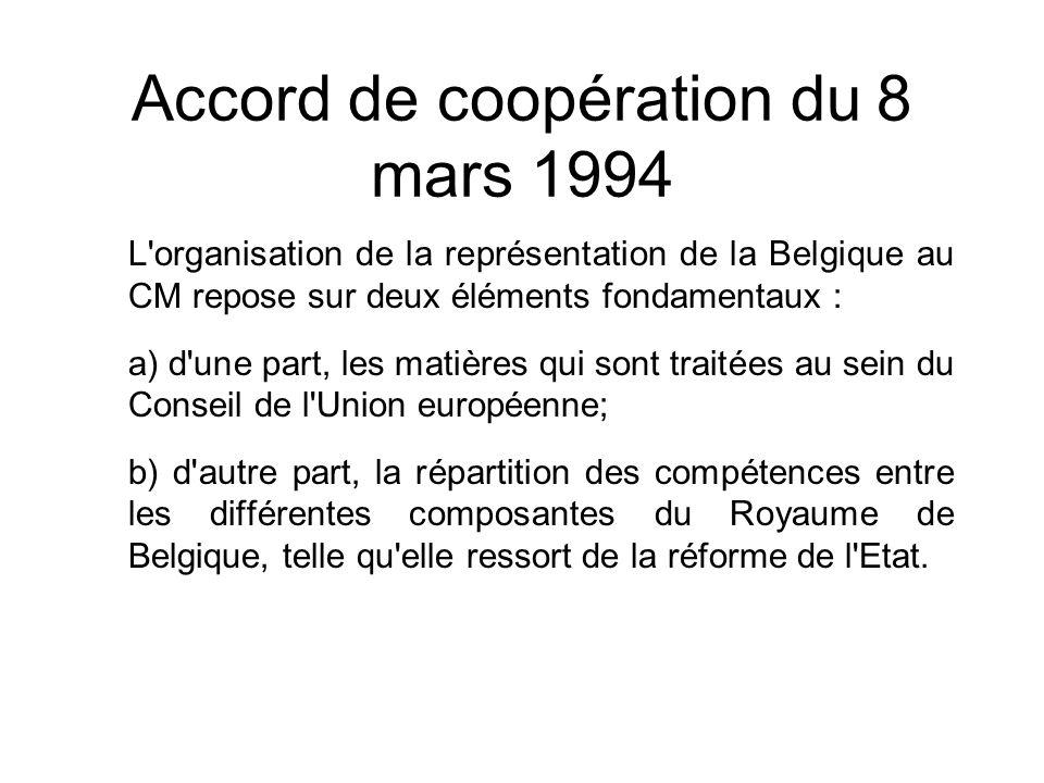 Accord de coopération du 8 mars 1994 L'organisation de la représentation de la Belgique au CM repose sur deux éléments fondamentaux : a) d'une part, l