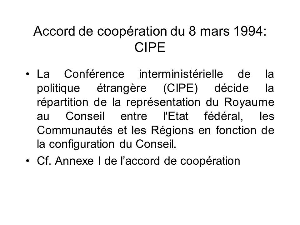 Accord de coopération du 8 mars 1994: CIPE La Conférence interministérielle de la politique étrangère (CIPE) décide la répartition de la représentatio