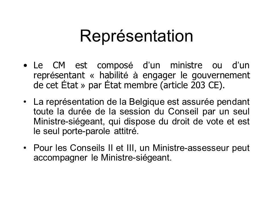 Représentation Le CM est compos é d un ministre ou d un repr é sentant « habilit é à engager le gouvernement de cet É tat » par É tat membre (article