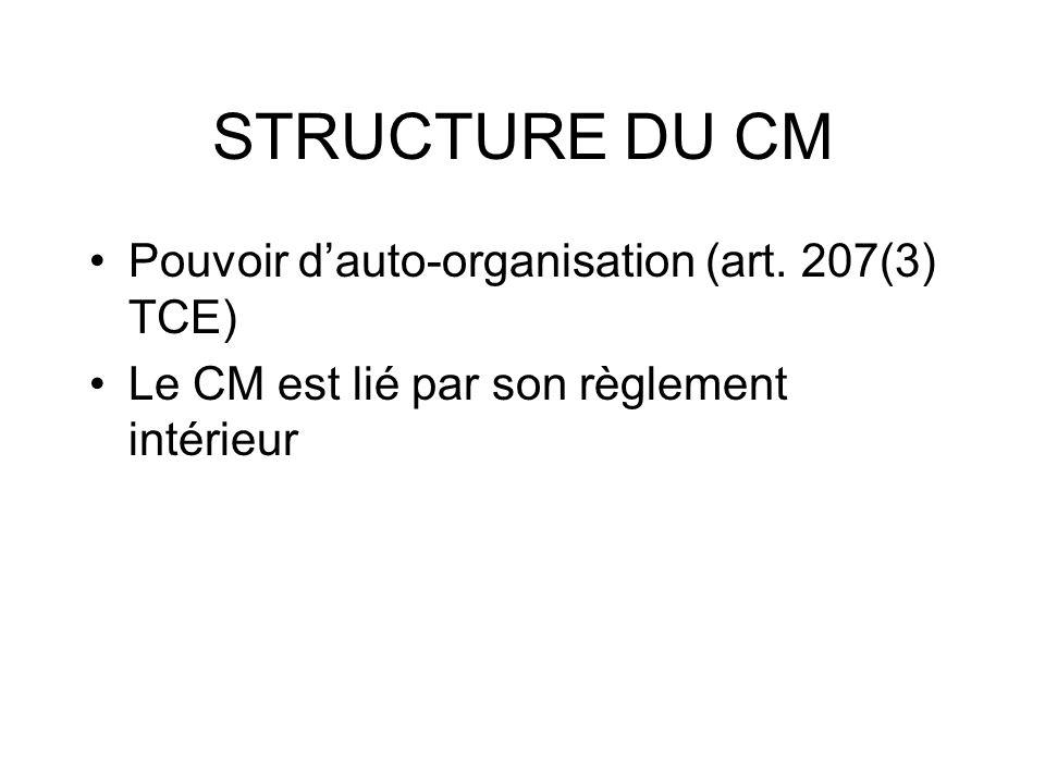 STRUCTURE DU CM Pouvoir dauto-organisation (art. 207(3) TCE) Le CM est lié par son règlement intérieur