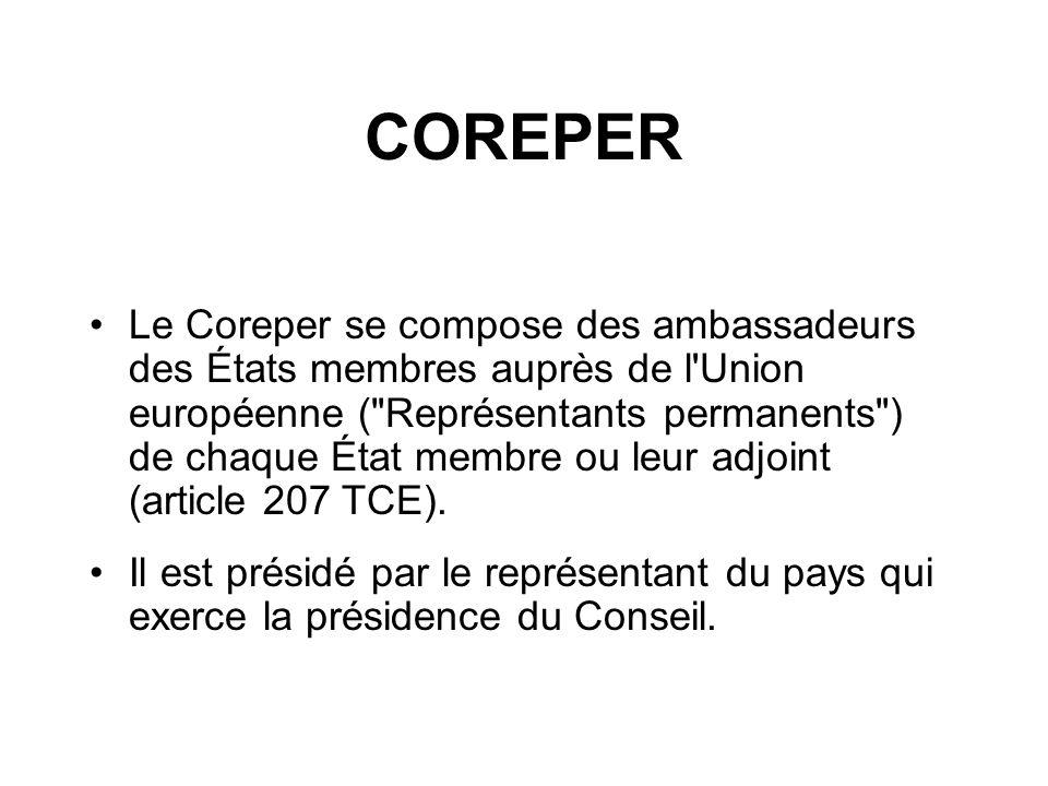 COREPER Le Coreper se compose des ambassadeurs des États membres auprès de l'Union européenne (
