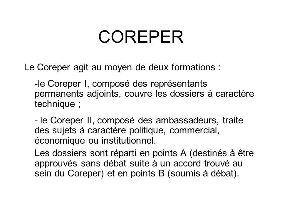 COREPER Le Coreper agit au moyen de deux formations : -le Coreper I, composé des représentants permanents adjoints, couvre les dossiers à caractère te