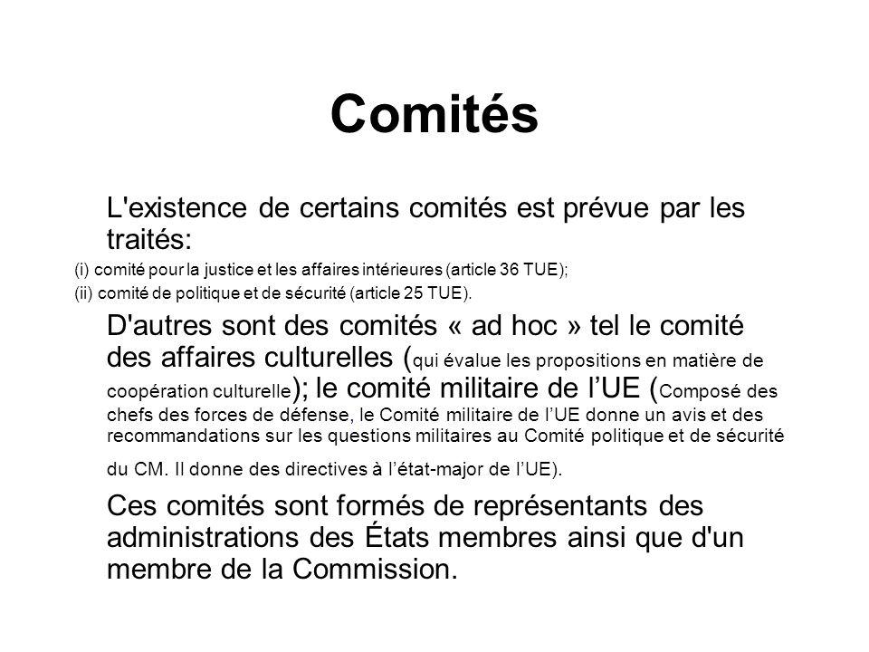 Comités L'existence de certains comités est prévue par les traités: (i) comité pour la justice et les affaires intérieures (article 36 TUE); (ii) comi
