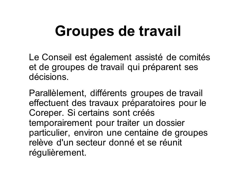 Groupes de travail Le Conseil est également assisté de comités et de groupes de travail qui préparent ses décisions. Parallèlement, différents groupes