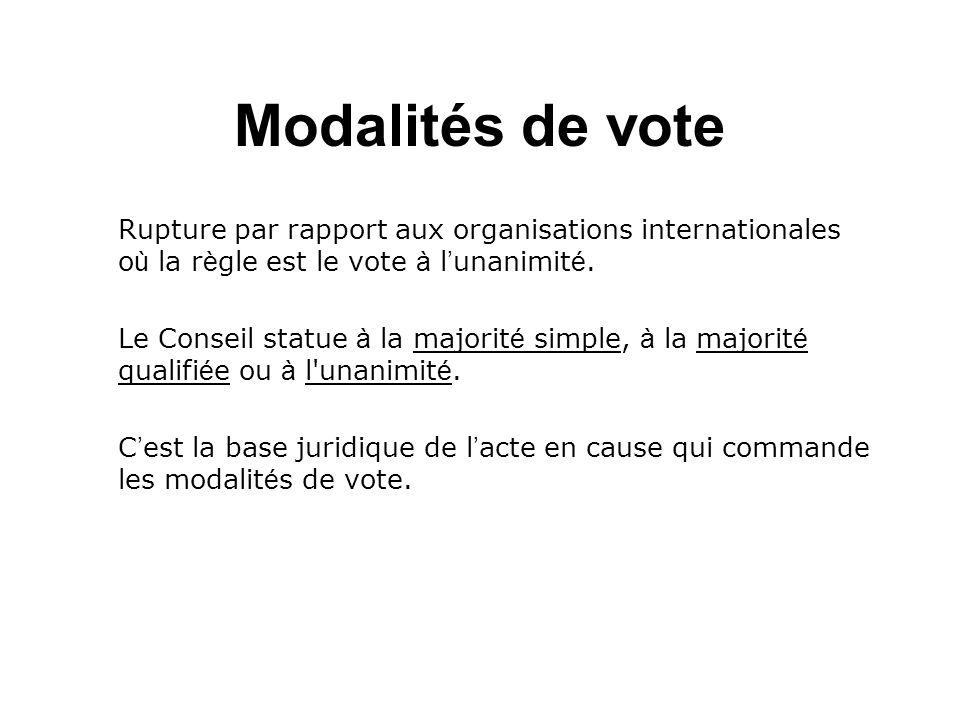Modalités de vote Rupture par rapport aux organisations internationales o ù la r è gle est le vote à l unanimit é. Le Conseil statue à la majorit é si
