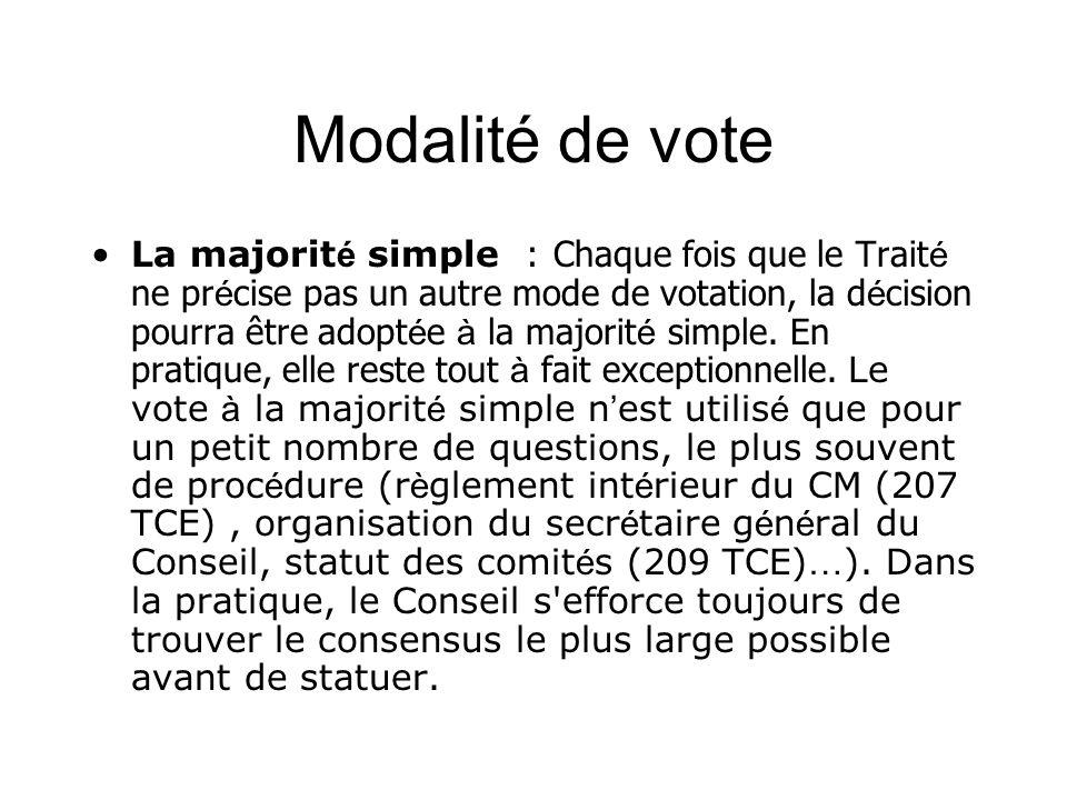 Modalité de vote La majorit é simple : Chaque fois que le Trait é ne pr é cise pas un autre mode de votation, la d é cision pourra être adopt é e à la