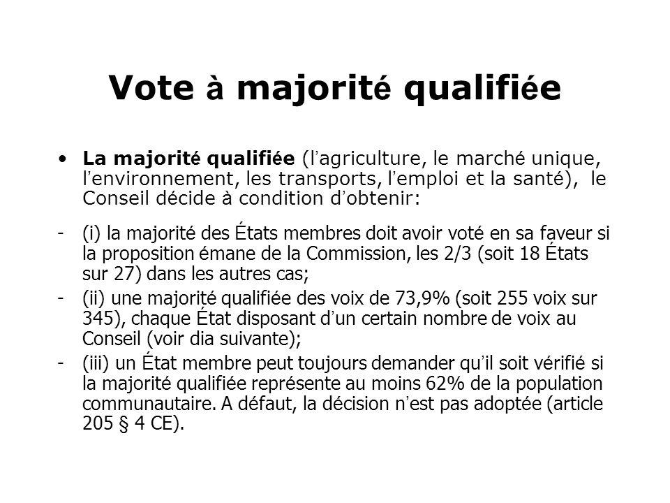 Vote à majorit é qualifi é e La majorit é qualifi é e (l agriculture, le march é unique, l environnement, les transports, l emploi et la sant é ), le