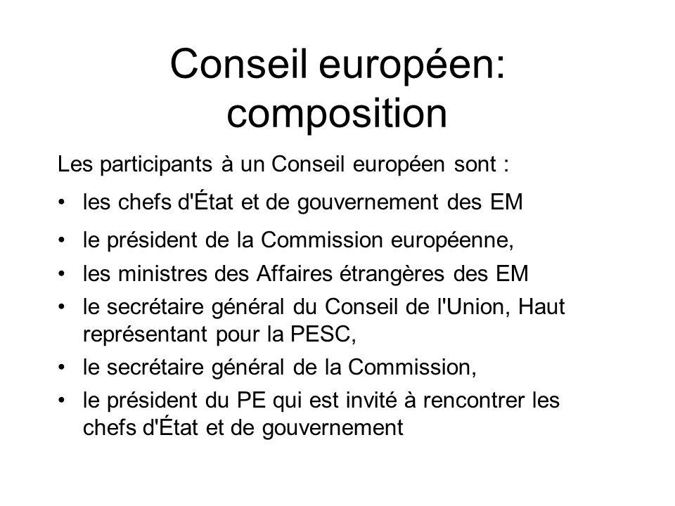 Conseil européen: composition Les participants à un Conseil européen sont : les chefs d'État et de gouvernement des EM le président de la Commission e