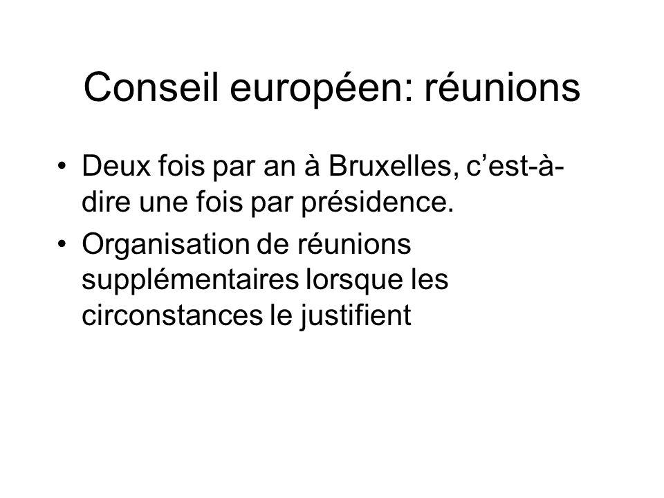 Conseil européen: réunions Deux fois par an à Bruxelles, cest-à- dire une fois par présidence. Organisation de réunions supplémentaires lorsque les ci