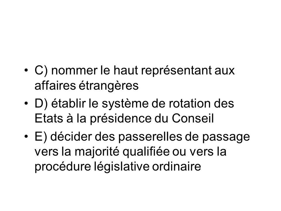 C) nommer le haut représentant aux affaires étrangères D) établir le système de rotation des Etats à la présidence du Conseil E) décider des passerell