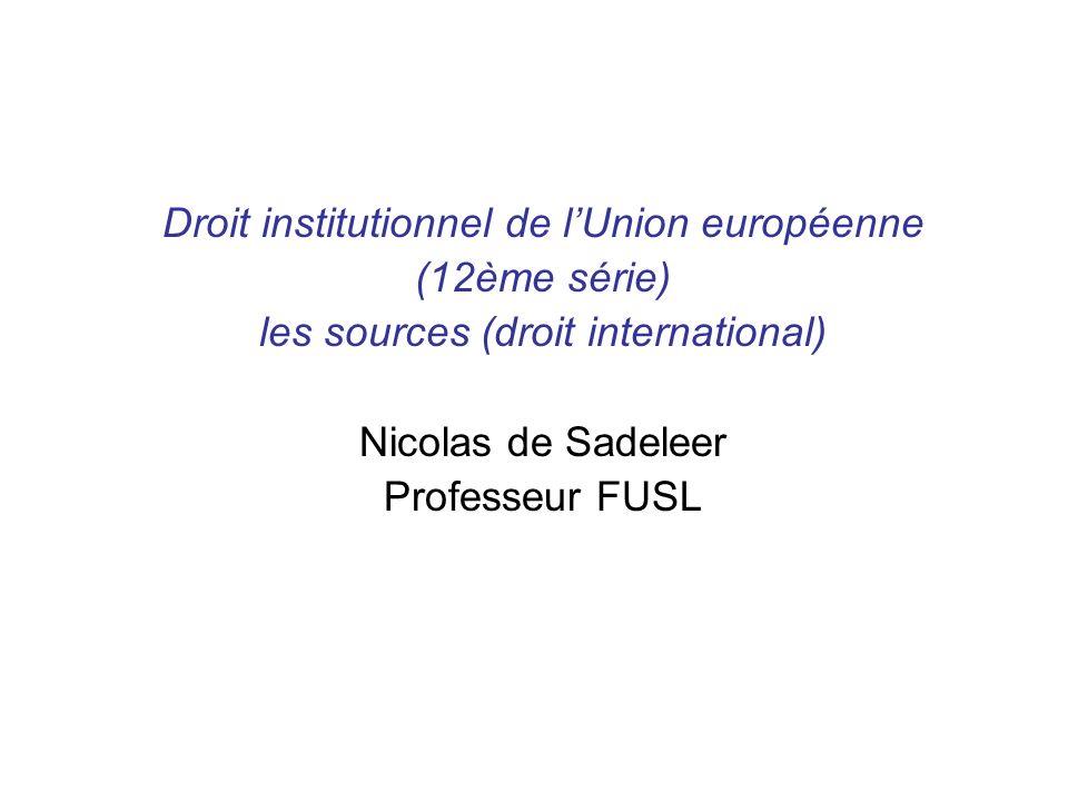 Droit institutionnel de lUnion européenne (12ème série) les sources (droit international) Nicolas de Sadeleer Professeur FUSL