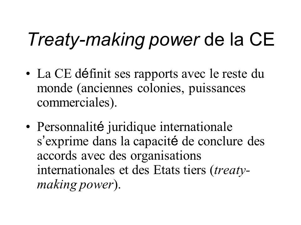 Treaty-making power de la CE La CE d é finit ses rapports avec le reste du monde (anciennes colonies, puissances commerciales). Personnalit é juridiqu