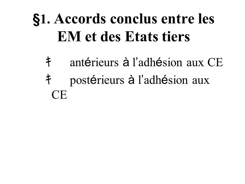 §1. Accords conclus entre les EM et des Etats tiers ant é rieurs à l adh é sion aux CE post é rieurs à l adh é sion aux CE