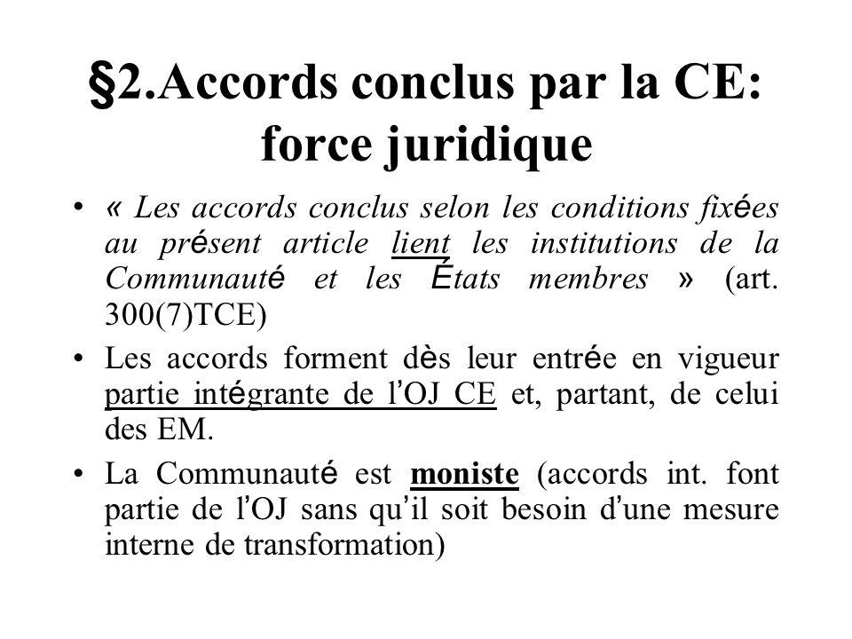 §2.Accords conclus par la CE: force juridique « Les accords conclus selon les conditions fix é es au pr é sent article lient les institutions de la Co