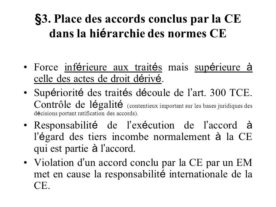 §3. Place des accords conclus par la CE dans la hi é rarchie des normes CE Force inf é rieure aux trait é s mais sup é rieure à celle des actes de dro