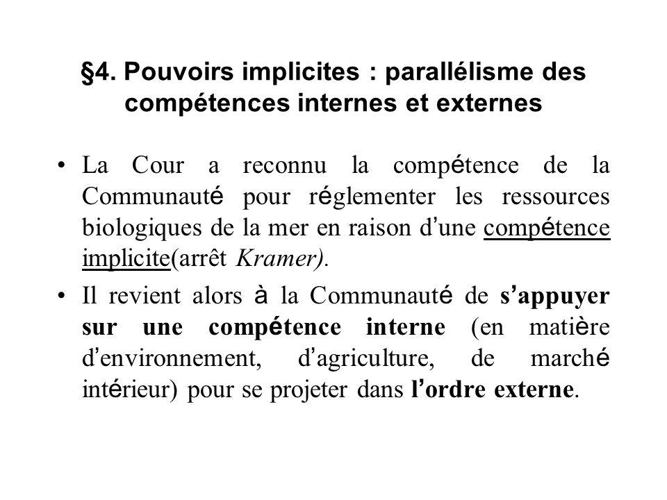 §4. Pouvoirs implicites : parallélisme des compétences internes et externes La Cour a reconnu la comp é tence de la Communaut é pour r é glementer les
