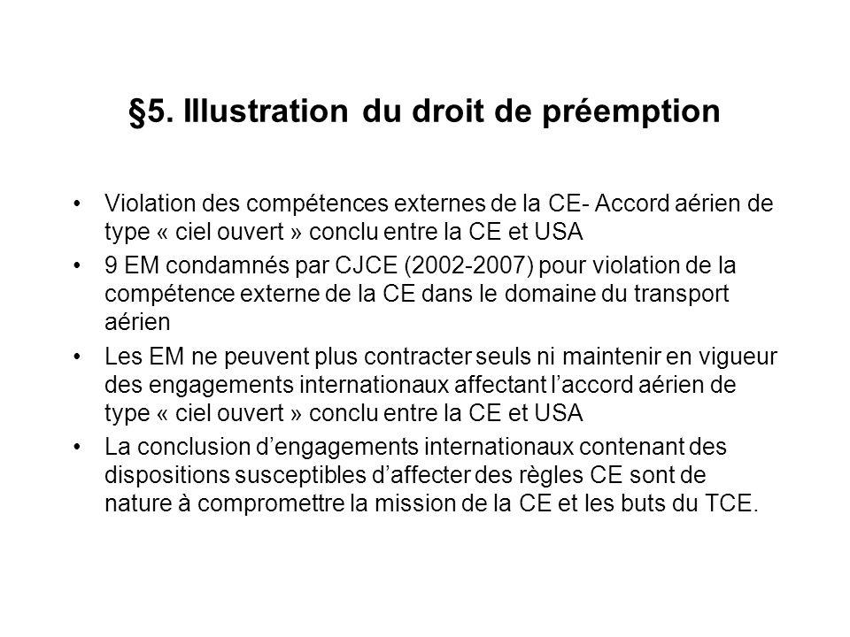 §5. Illustration du droit de préemption Violation des compétences externes de la CE- Accord aérien de type « ciel ouvert » conclu entre la CE et USA 9