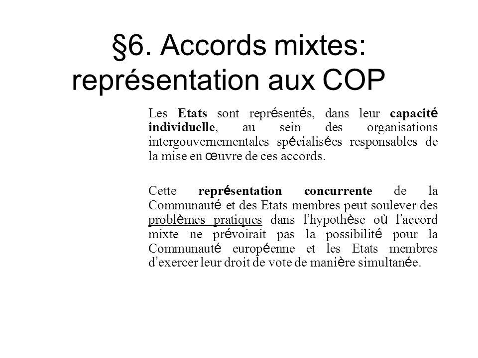 §6. Accords mixtes: représentation aux COP Les Etats sont repr é sent é s, dans leur capacit é individuelle, au sein des organisations intergouverneme