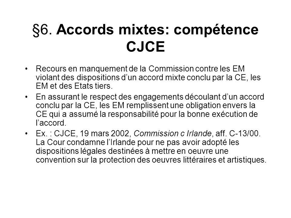 §6. Accords mixtes: compétence CJCE Recours en manquement de la Commission contre les EM violant des dispositions dun accord mixte conclu par la CE, l