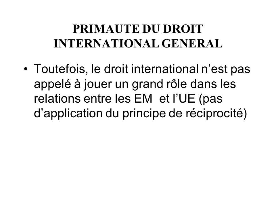 PRIMAUTE DU DROIT INTERNATIONAL GENERAL Toutefois, le droit international nest pas appelé à jouer un grand rôle dans les relations entre les EM et lUE