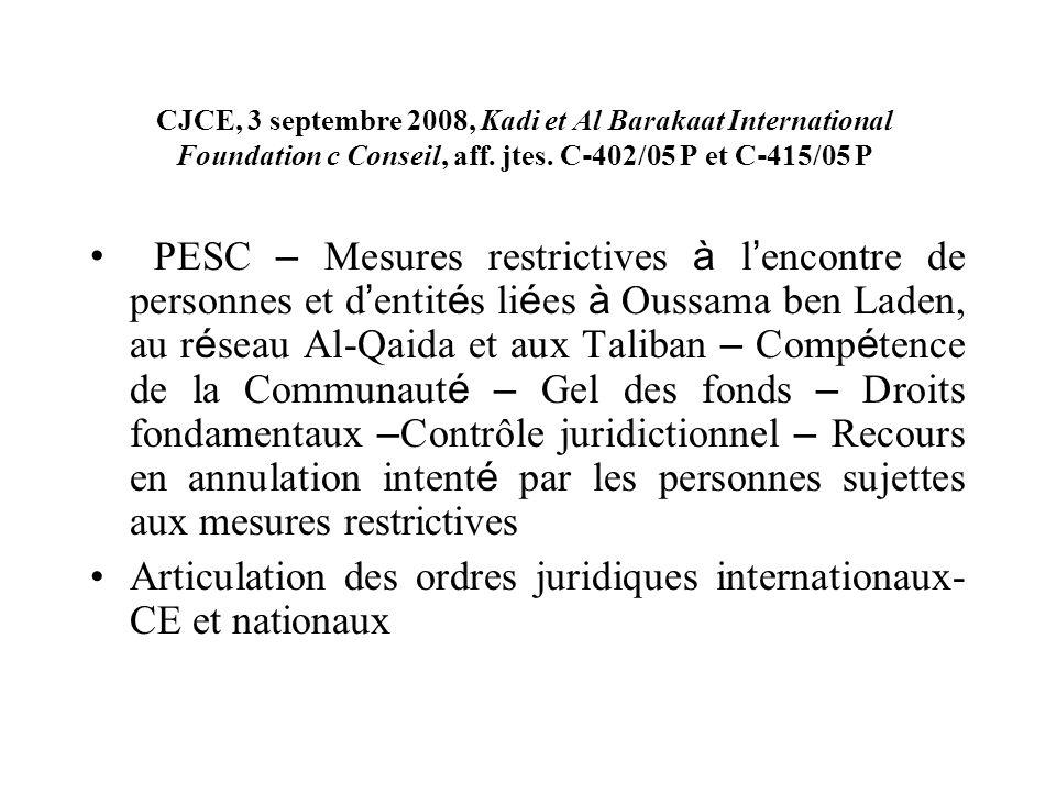 CJCE, 3 septembre 2008, Kadi et Al Barakaat International Foundation c Conseil, aff. jtes. C 402/05 P et C 415/05 P PESC – Mesures restrictives à l en