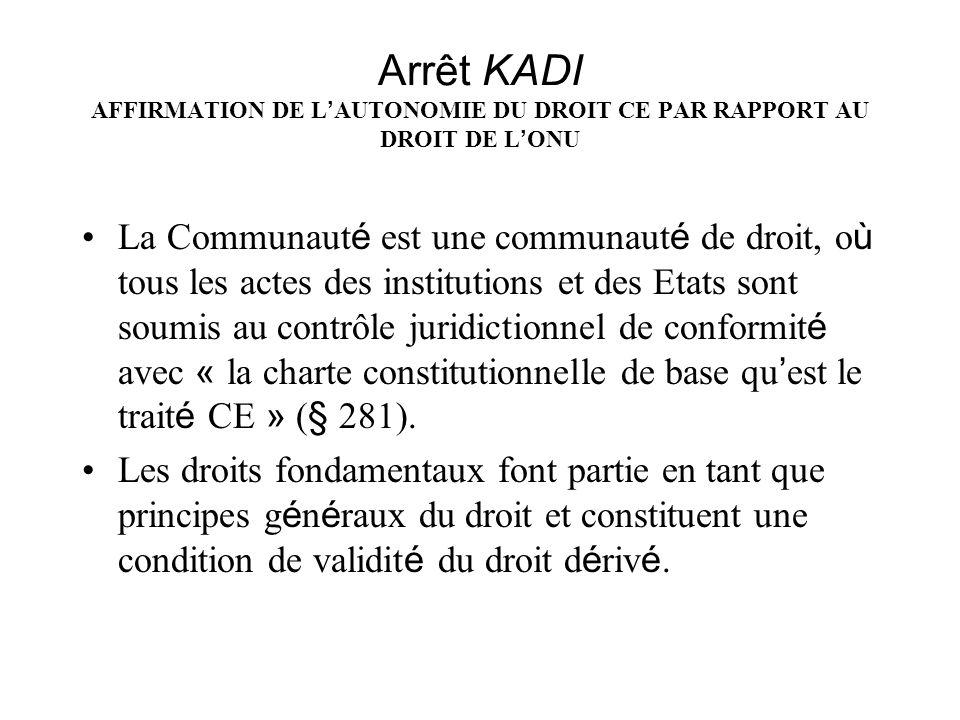 Arrêt KADI AFFIRMATION DE L AUTONOMIE DU DROIT CE PAR RAPPORT AU DROIT DE L ONU La Communaut é est une communaut é de droit, o ù tous les actes des in