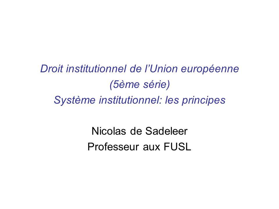 Droit institutionnel de lUnion européenne (5ème série) Système institutionnel: les principes Nicolas de Sadeleer Professeur aux FUSL