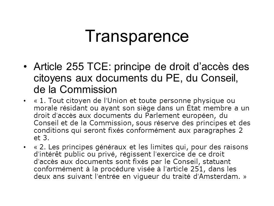 Transparence Article 255 TCE: principe de droit daccès des citoyens aux documents du PE, du Conseil, de la Commission « 1.