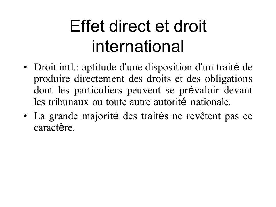 Effet direct et droit international Droit intl.: aptitude d une disposition d un trait é de produire directement des droits et des obligations dont le