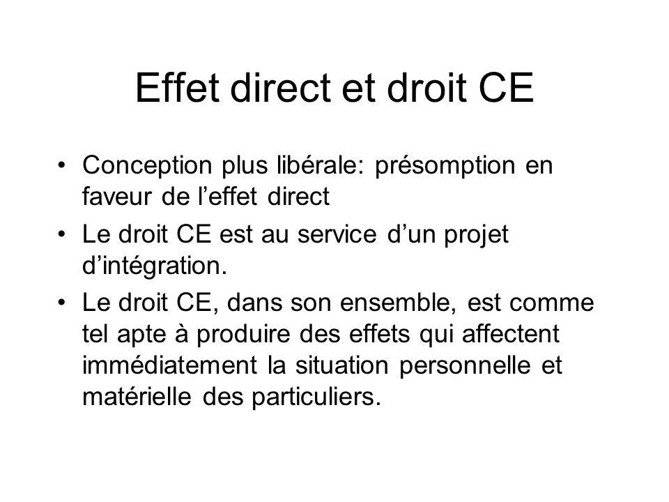 Effet direct et droit CE Conception plus libérale: présomption en faveur de leffet direct Le droit CE est au service dun projet dintégration. Le droit