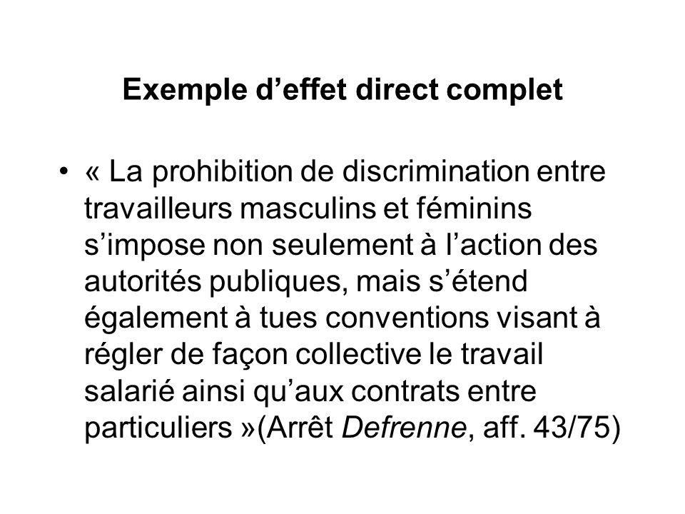 Exemple deffet direct complet « La prohibition de discrimination entre travailleurs masculins et féminins simpose non seulement à laction des autorité