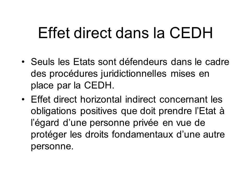 Effet direct dans la CEDH Seuls les Etats sont défendeurs dans le cadre des procédures juridictionnelles mises en place par la CEDH. Effet direct hori
