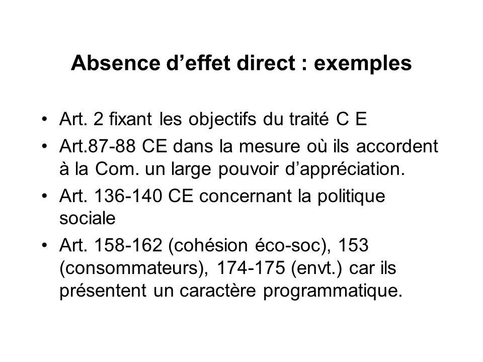 Absence deffet direct : exemples Art. 2 fixant les objectifs du traité C E Art.87-88 CE dans la mesure où ils accordent à la Com. un large pouvoir dap