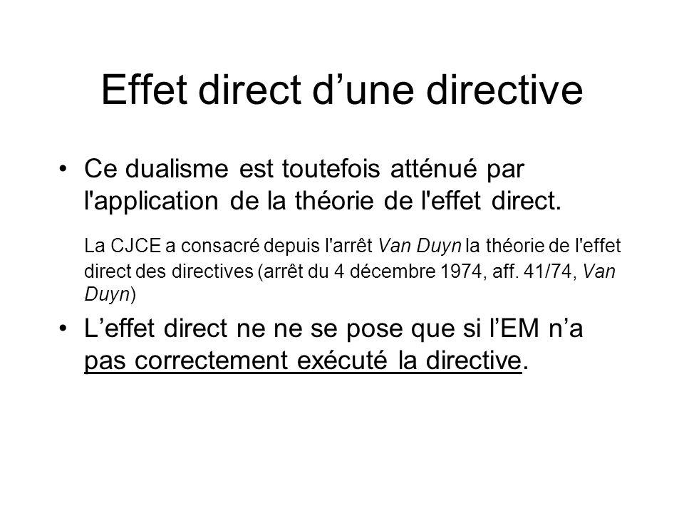 Effet direct dune directive Ce dualisme est toutefois atténué par l'application de la théorie de l'effet direct. La CJCE a consacré depuis l'arrêt Van