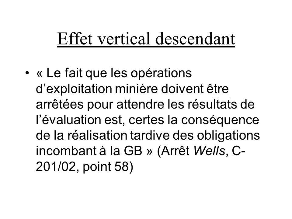 Effet vertical descendant « Le fait que les opérations dexploitation minière doivent être arrêtées pour attendre les résultats de lévaluation est, certes la conséquence de la réalisation tardive des obligations incombant à la GB » (Arrêt Wells, C- 201/02, point 58)
