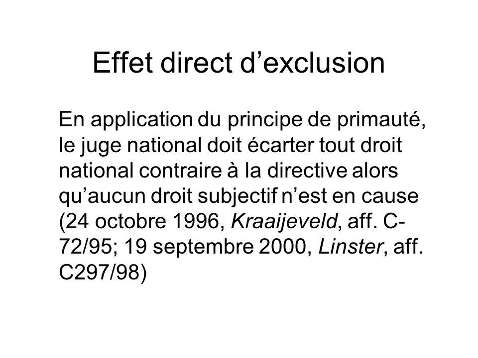 Effet direct dexclusion En application du principe de primauté, le juge national doit écarter tout droit national contraire à la directive alors quauc